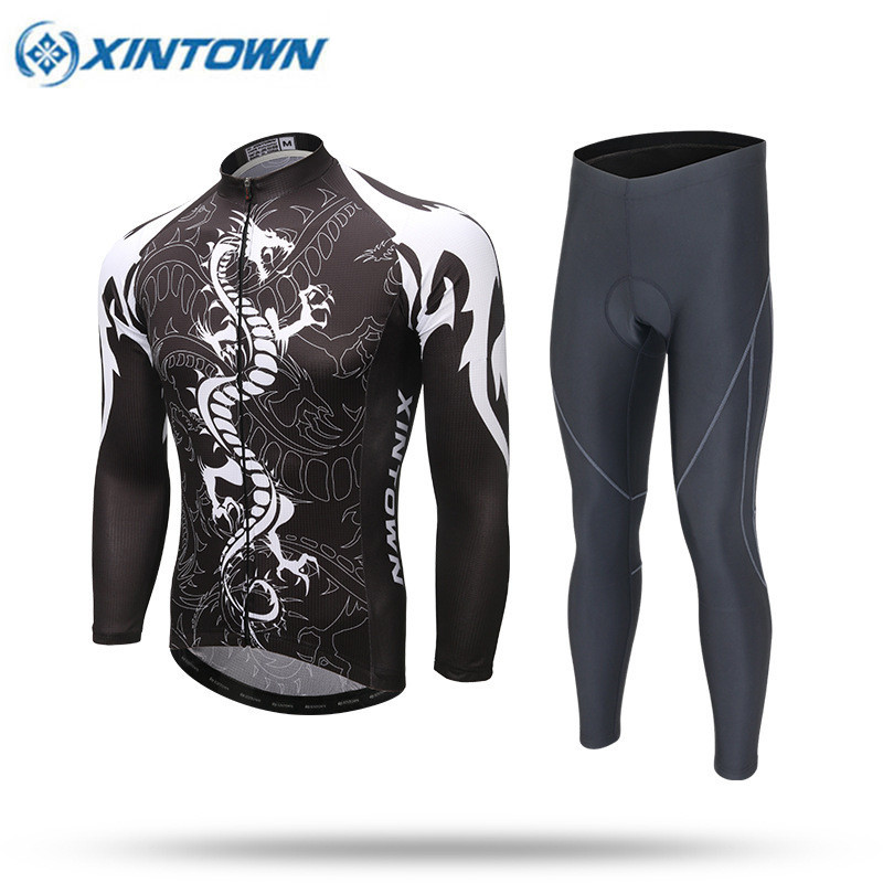 ФОТО XINTOWN Dragon Cycling Jersey Set Pro Team Long Sleeve Mtb Bike Clothing Men Bicycle Clothes Black Polyester Sportswear