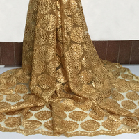 High Quality African Lace Fabric 2017 Latest African Tulle Lace Yellow Color Nigerian Voile Lace Fabric