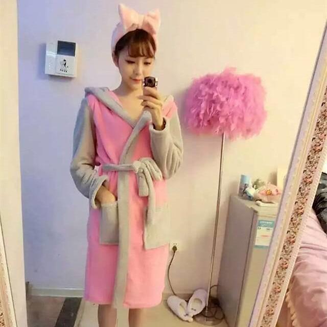 e3d5f6959e Cosplay Women Bathrobe Robe Cartoon Pajamas Nightgown Hooded Robe Bathrobe  Leisurewear Flannel Winter Thick Pijama Mujer