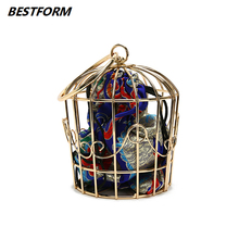 BESTFORM Birdcage Women Bag Chains Female Handbags Metal Frame Embroidery Ladies Shoulder Bags Crossbody Messenger Evening