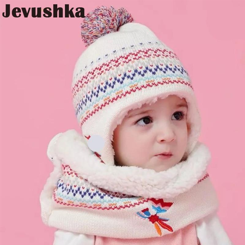 Newborn Boys Girls Winter Warm Fur Pom Knit Beanie Hat Cap+Scarf Set 8Color