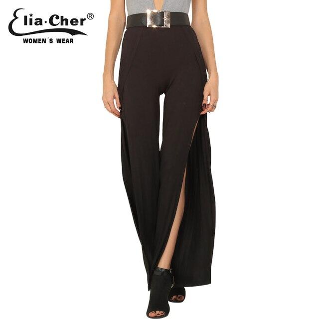 dd2e5b371eb Split Hem Wide Leg Pants Black Eliacher Brand Plus Size Casual Summer Women  Clothing Chic Loose Lady Capris Trousers Pant 8498
