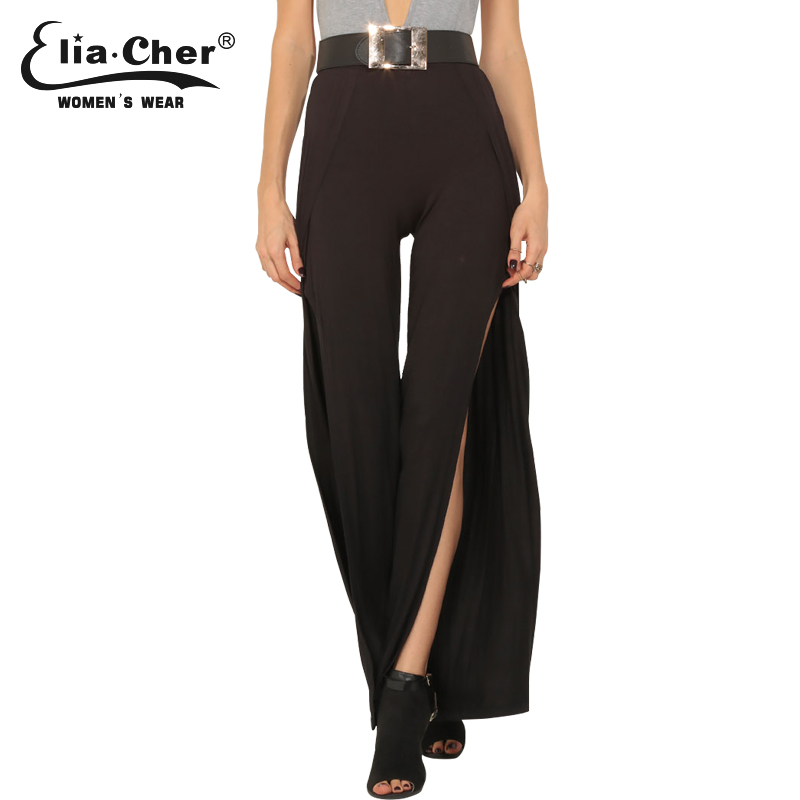 Split Hem   Wide     Leg     Pants   Black Eliacher Brand Plus Size Casual Summer Women Clothing Chic Loose Lady Capris Trousers   Pant   8498