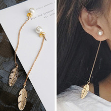 EK287 European Fashion boucle d oreille Leaf Feather Simulated Pearls Long Tassel Stud font b Earrings