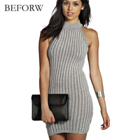 BEFORW Summer New Solid Color Dress High Collar Sleeveless Dress Night Club Mini Dress Knitted Dress
