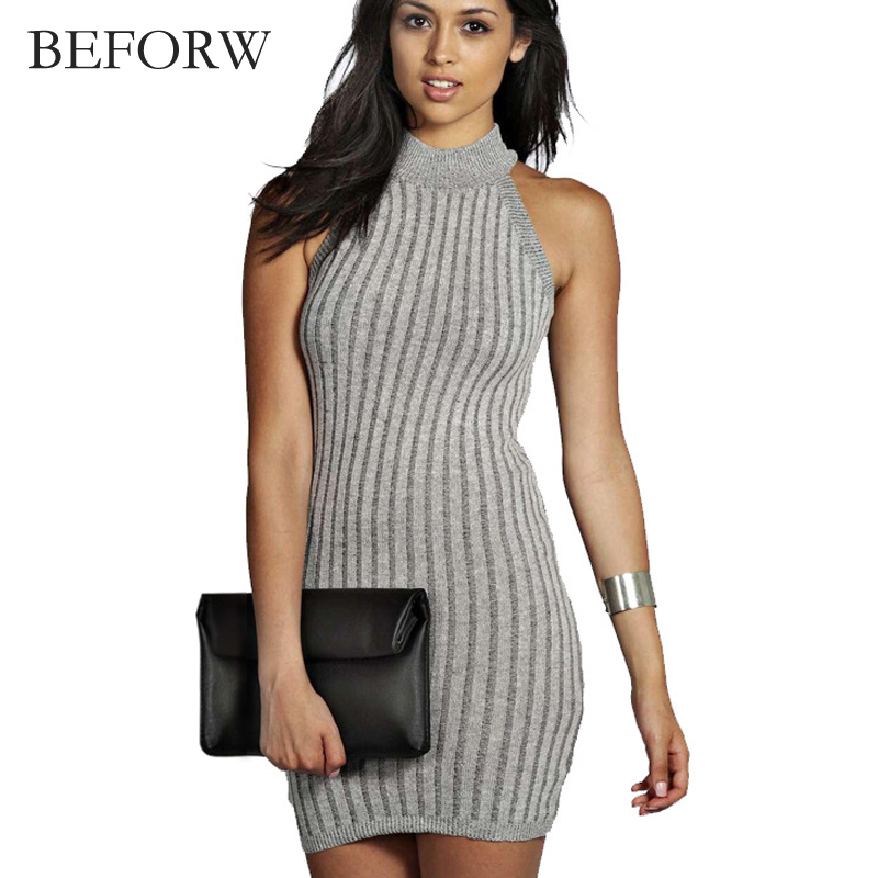 BEFROW Fashion Women Summer Dress Vintage Elegan Black Gray Wine Red Sleeveless Knitted Dresses Sexy Mini Tight Pencil Dress