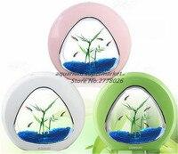 1 piece plastic ecological creativity desktop cylinder ecology fish tank integration filter mini fish tank pink green white