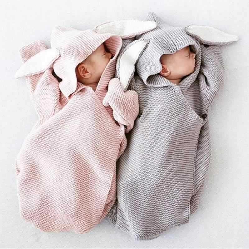 Newborn Baby Hooded Blanket Cartoon Rabbit Ear Swaddling Infant Kids Sleeping Bag Soft Solid Wrap Knitted Photography Props