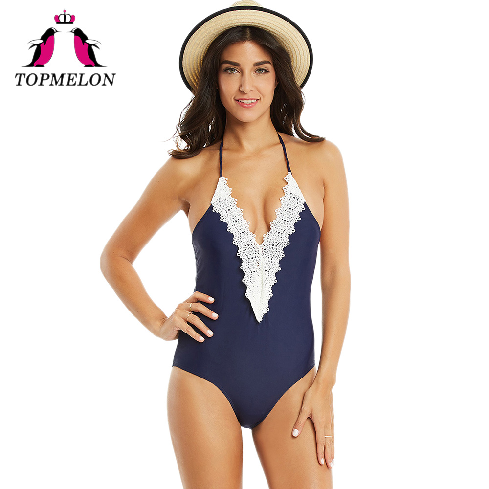 Topmelon Swimwear One-Piece Women Sexy Lace Bathing Plus Size Blue Monokini Push Up Sexy Beach Wear One Piece Female Swimsuit cheap sexy bathing suits swimwear one piece female may beach girls plus size 2017 2018 pure color covering underwire groups