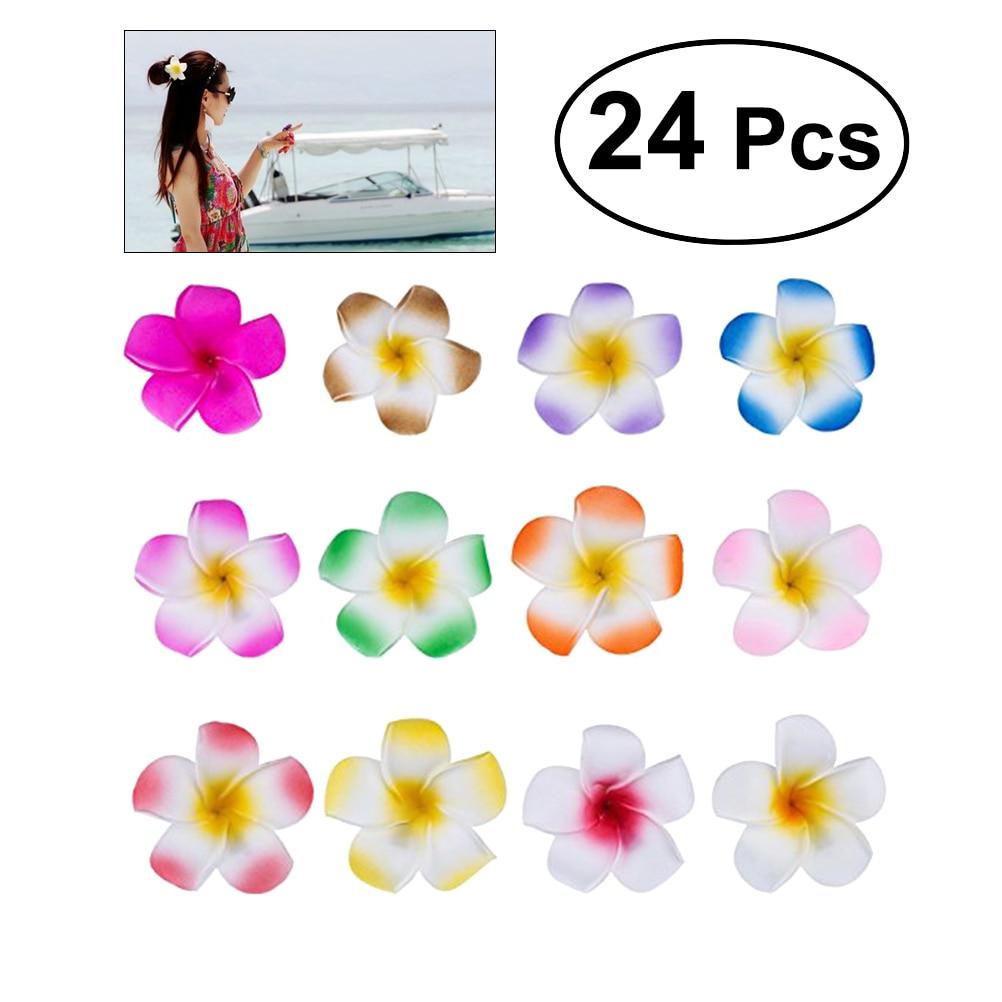 24pcs 2.4 Inch Hawaiian Plumeria Flower Hair Clip Foam Hair Accessory For Beach Party Wedding Event Decoration (12 Colors)