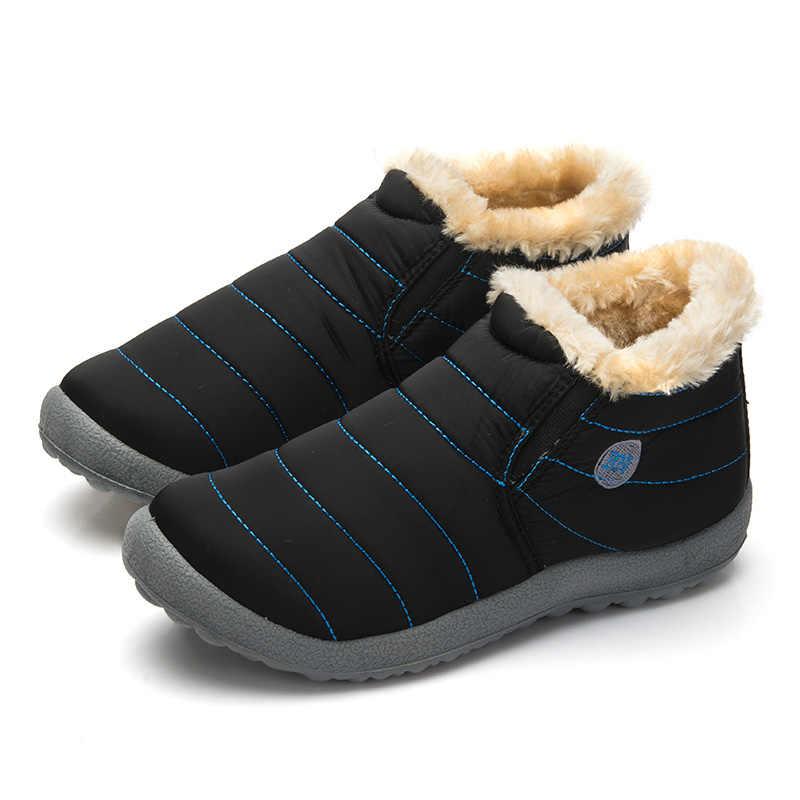Phụ Nữ không thấm nước Mùa Đông Giày Couple Unisex Tuyết Boots Lông Ấm Áp Bên Trong Chống Trượt Phía Dưới Giữ Cho Mẹ Ấm Khởi Động Bình Thường Size35-48