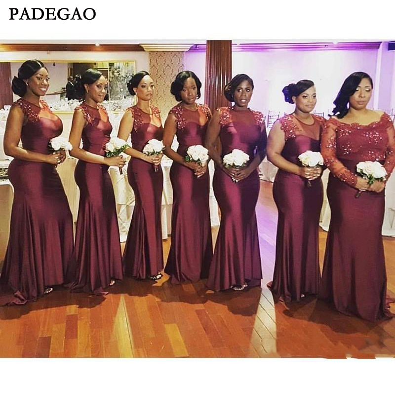 Gorgeous South Africa Burgundy Long   Bridesmaid     Dresses   Ruffled Off shoulder Arabic Garden Wedding Guest Maid of Honor   Dresses