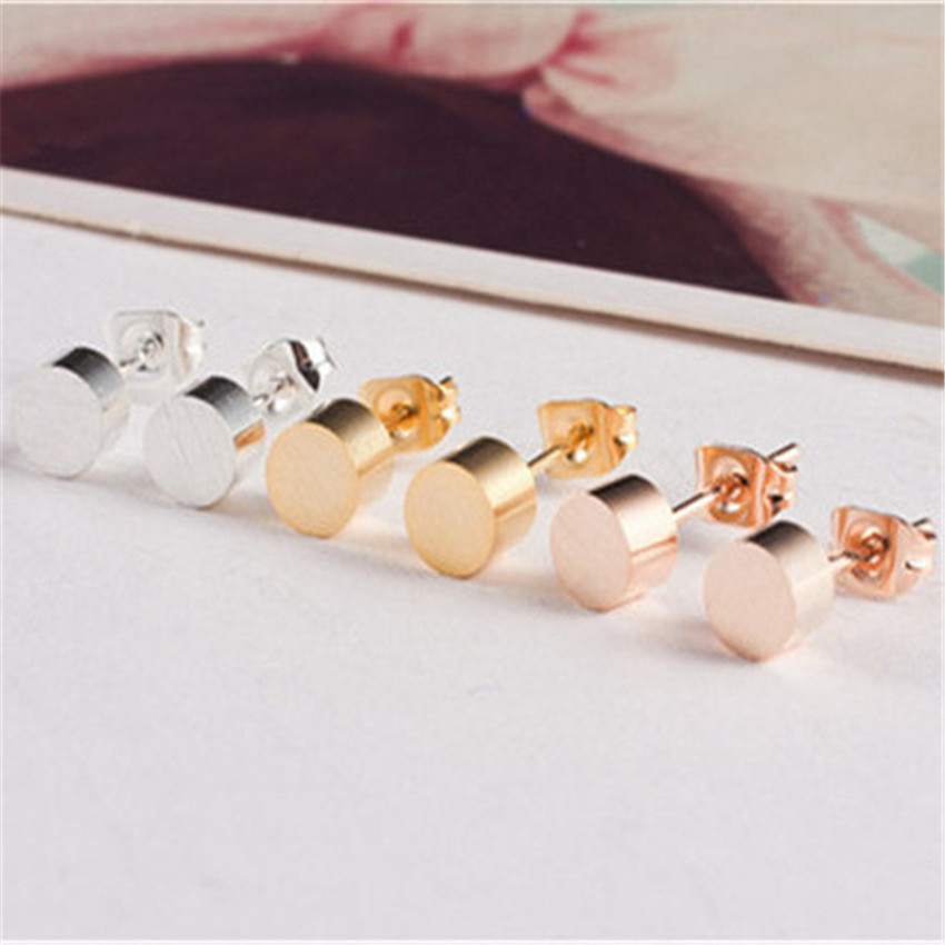 10pairs/lot Stainless Steel Geometry Charm Men Jewelry Gold Silver Color Dainty Soild Cylindrical Stud Rings For Women Brincos