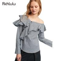 RIchLuLu Fashion Women Autumn Plaid Shirt Ruffled Long Sleeve Casual Female Blouse Off Shoulder Button Sexy