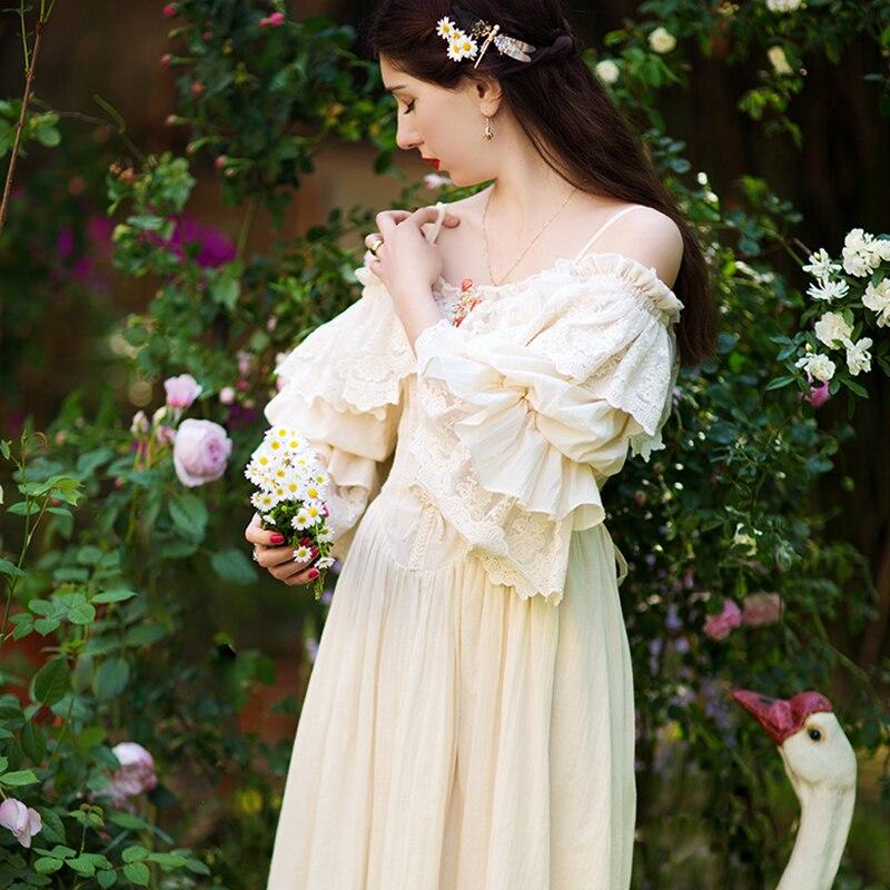 Original Design Women's Long Dress Vintage Lace Embroidery Sleepwear Summer Nightgowns Sleeveless Cotton Women Sleepshirts