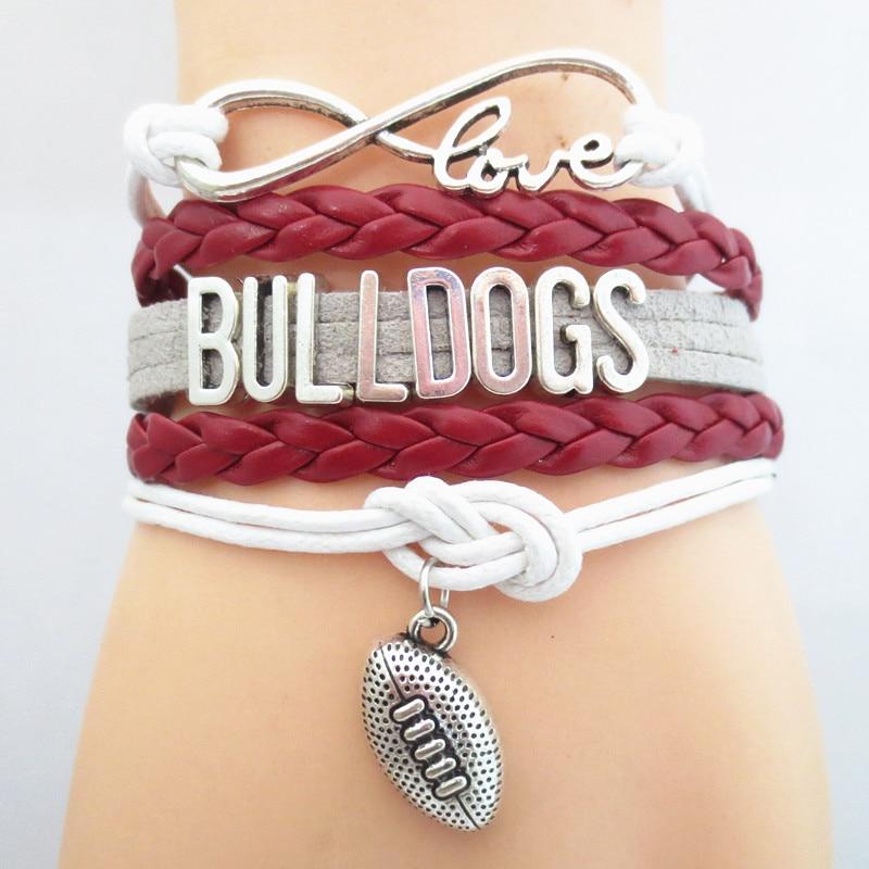100% Wahr Sandei Modeschmuck Unendlichkeit Liebe Bulldogs Football Armband Sport Team Freundschaft Armbänder B09112
