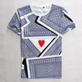 New 3D T-shirt Print Playing CARDS Cotton Tee Shirts Short Sleeve Casual Homme Loose Unisex Summer poker card heart Tops verano