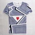 New 3D cartões de impressão de algodão t-shirt Homme de manga curta de verão Tops de cartão de verano
