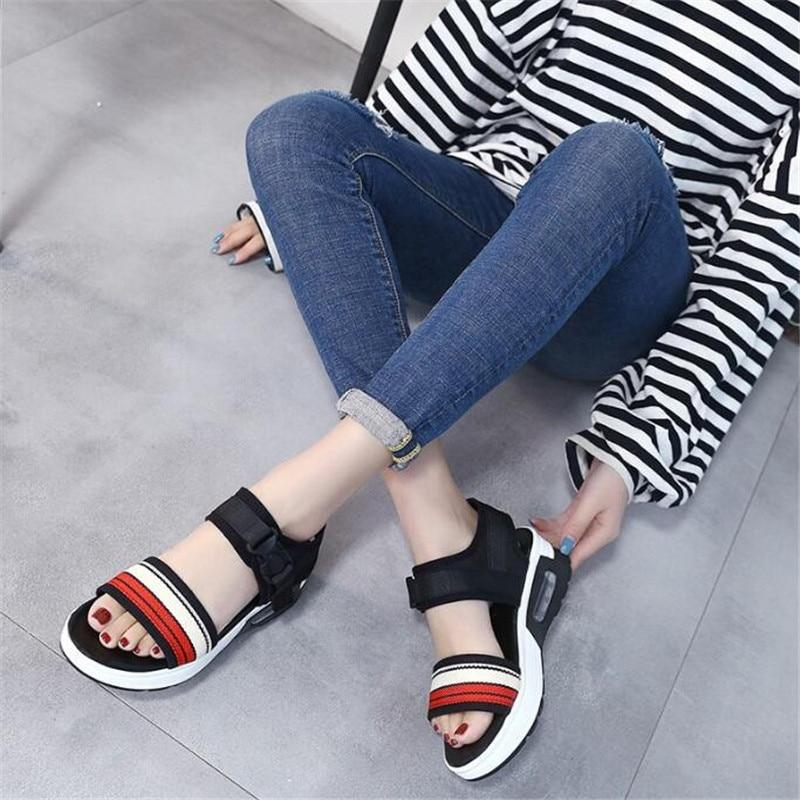 Moda De Sandalias Suave Mujer 2018 Mujeres Ocasionales Plataforma Abierta Zapatos Punta Green rojo Verano Las Cuero Cuñas 5Ewqnn1C