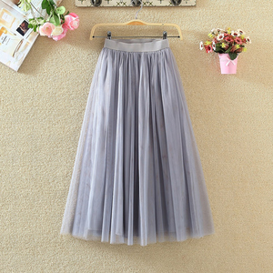 Image 4 - TIGENA Tulle Skirts Womens 2020 Summer Long Maxi Skirt Female Elastic High Waist Pleated Tutu Skirt Sun Black Gray White