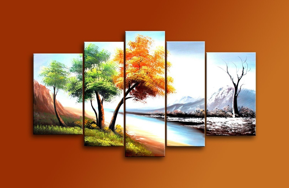 Hand Painted 5 Piece Modern Landscape Oil Paintings On Canvas Wall Art 4  Season Trees Picture Cuadros Decoracion For Living Room In Painting U0026  Calligraphy ...