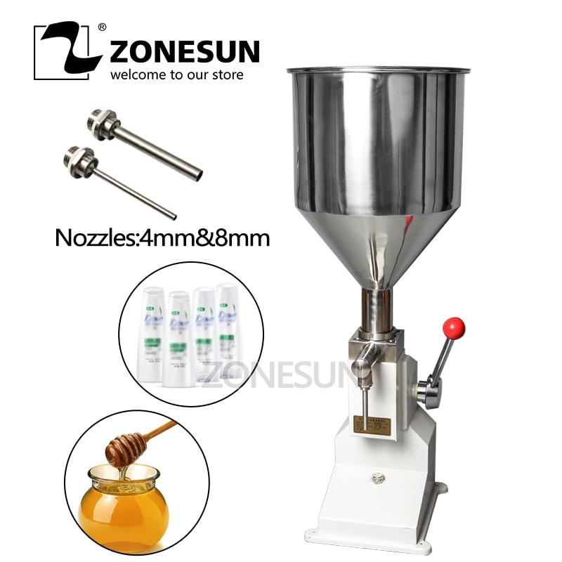 ZONESUN Manual Food Filling Machine Hand Pressure Arequipe Cream Honey Liquid Paste Packaging Equipment Shampoo Juice Filler