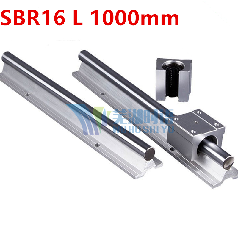 Express Shipping: 2pcs SBR16 L 1000mm Linear Bearing Rails + 4pcs SBR16UU Linear Motion Bearing Blocks (can be cut any length)