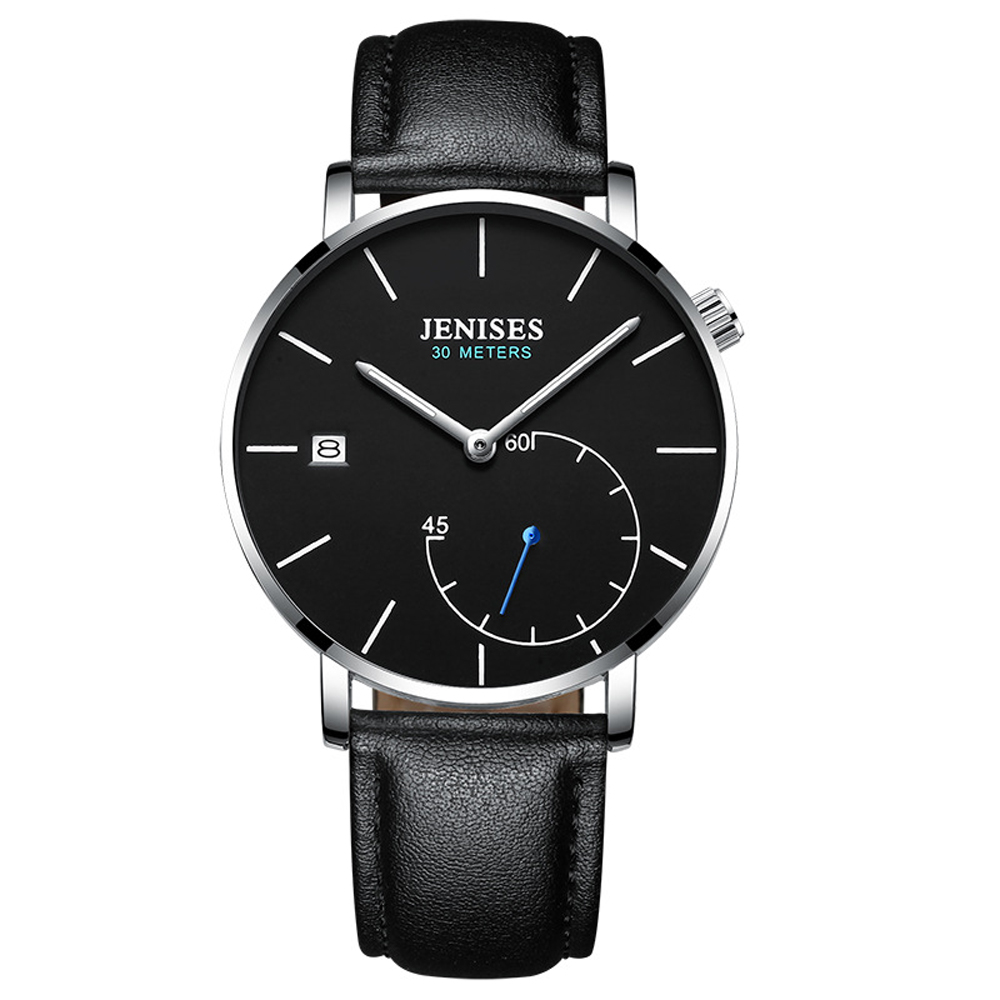 Man Watch JENISES 2019 Fashion Luxury Business Leather Quartz Watch Montre Homme Waterproof Date Clock Male Hodinky Men's Watch