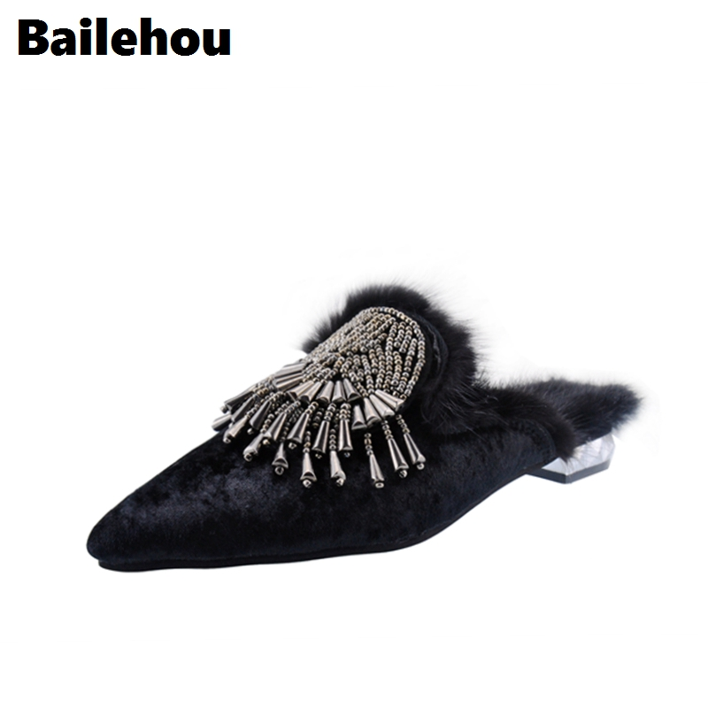 Bailehou New Arrivals Women Flats Casual Shoes Pointed Toe String Bead Sides For Female Fashion Fur Mules Outdoor Slippers Plush 2017 womens spring shoes casual flock pointed toe narrow band string bead ballet flats flat shoes cover heel women flats shoes