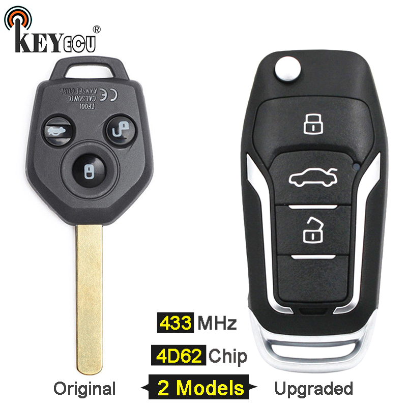 KEYECU 433MHz 4D62 Chip Origianl/ Upgraded Flip Folding 3 Button Remote Key Fob key for Subaru Forester 2008 2009 2010 2011 2012