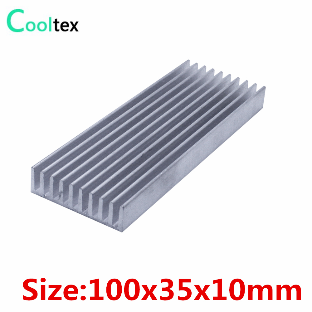 (2pcs/lot) 100x35x10 Aluminum heatsink radiator heat sink cooler for chip LED integrated circuit Electronic cooling