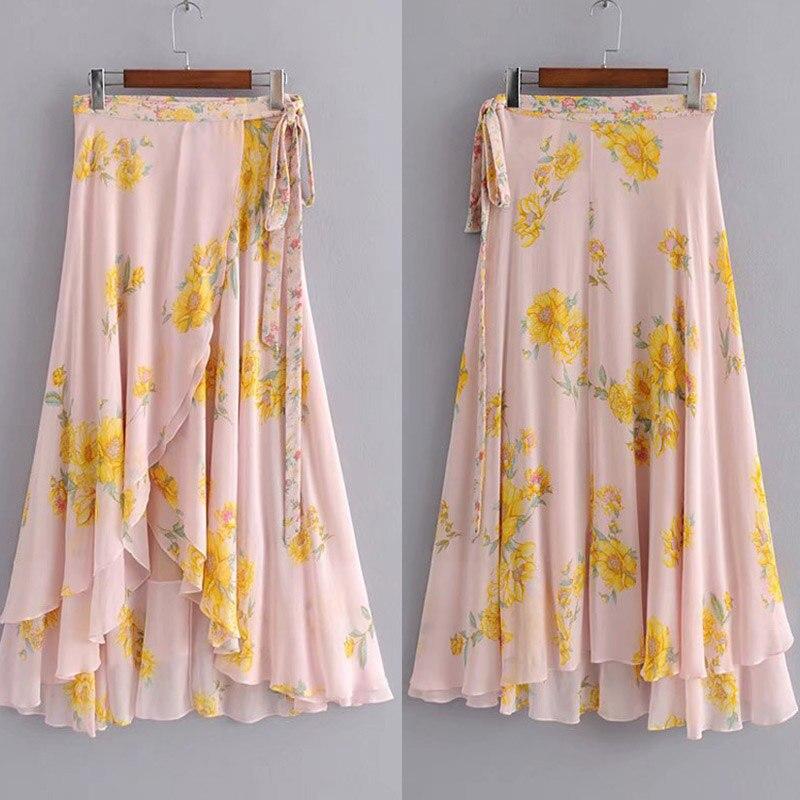 Boho Floral Print Skirts Womens Flowing Long Skirt Maxi Lady High Waist Skirt