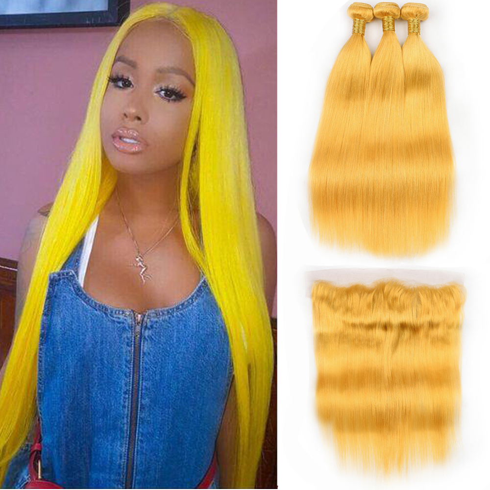 BEAU DIVA Hair 3 PCS Brazilian Straight Yellow Hair Bundles With 13*4 Lace Frontal Non Remy Hair Extension Free Shipping