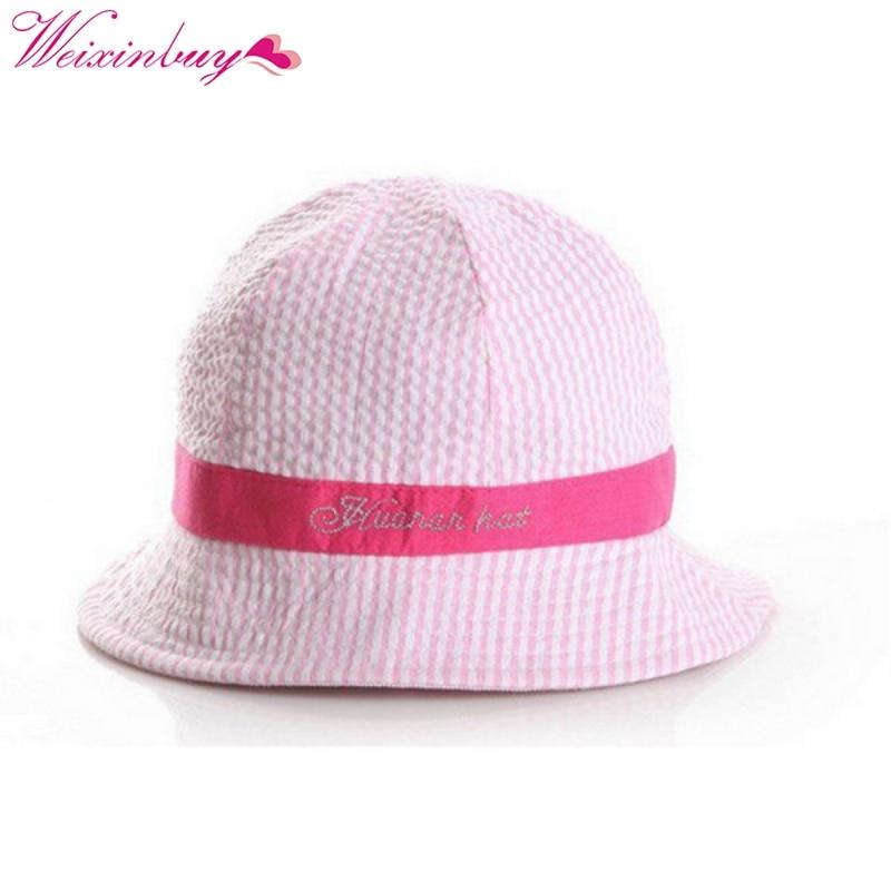 Для малышей Одежда для девочек и мальчиков Панамы для женщин в полоску Защита от солнца пляжная Кепки 6-24 м