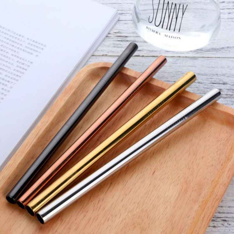 Eco-Friendly Stainless Steel Straw+1Brush Metal Straight Drinking Straw Food Grade 8MM*10MM Bar Accessories