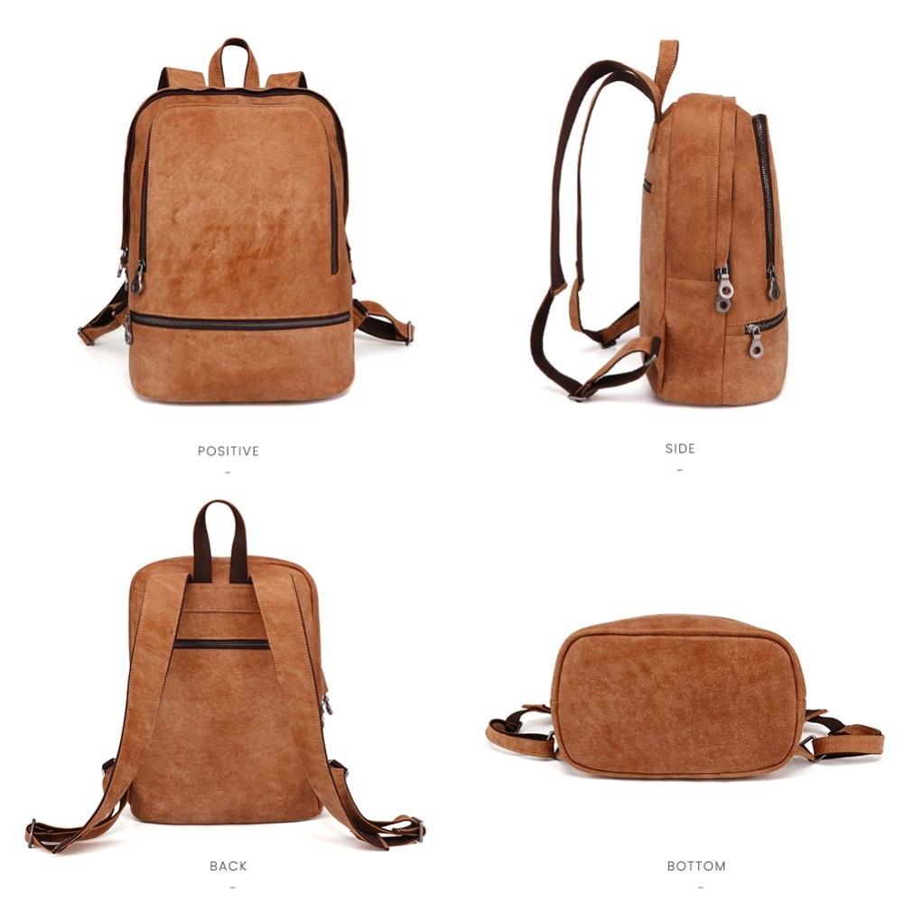 JOYIR Genuine Leather Men Backpack Large Capacity Backpack Fashion Male Rucksack School Bag New Design Men 15 6 quot Laptop Daypack in Backpacks from Luggage amp Bags