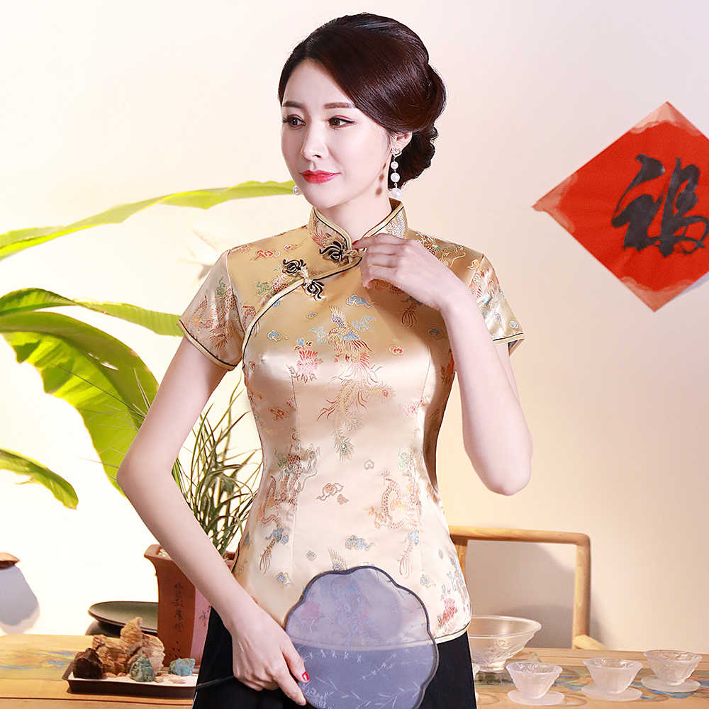 Goud Traditionele Chinese Satijn Blouse Zomer Nieuwe Sexy Korte Mouw Vrouwen Shirts Novelty Dragon & Button Top Kleding S-4XL