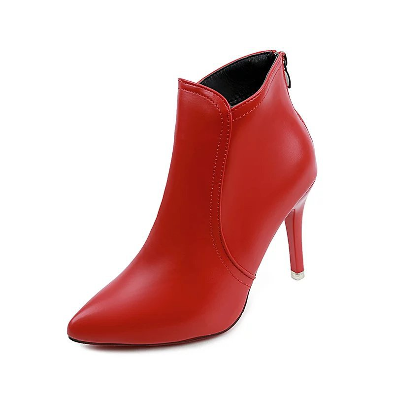 Ankle boots for women autumn winter high heels shoes ladies sexy black red pointed toe stiletto short boots woman botas mujer