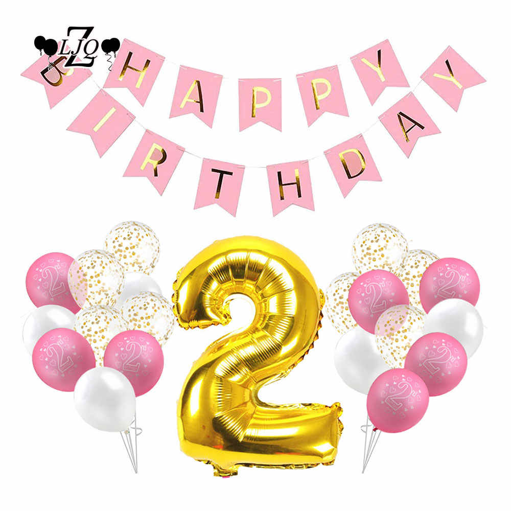 ZLJQ 32p 2nd Birthday Girl Decoration Kit - Party Balloons / Pink Happy  Birthday Banner / Golden Foil Balloon 2, White Balloons