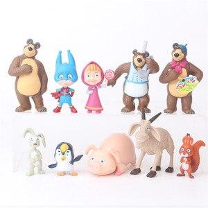 Image 1 - 10 Pezzi/set Russia Masha e Orso Giocattolo Figura Bambola Decorazione Della Casa Masshe Action Figure Creativo Masha Orso Bambola Regalo Per bambini