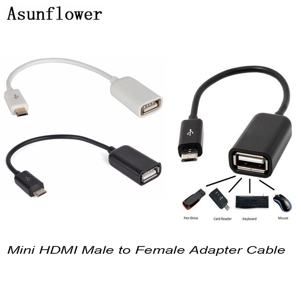 Mini HDMI Male To Female Adapter Micro USB To USB Cable OTG On The Go Converter Cable For Samsung Galaxy S6 Edge Digital Cameras