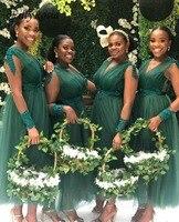 Темно зеленый платье подружки невесты из Африканской ткани для свадебной вечеринки тонкая длиной до лодыжки с v образным вырезом длинный ру