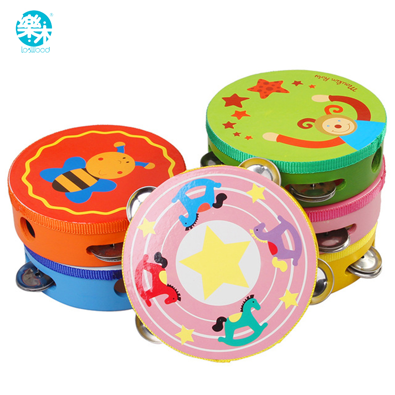 Useful 1pc New Baby Wooden Drum Toys Musical Percussion Instruments Musical Handbells Baby Toys Random Color Toys & Hobbies Baby Rattles & Mobiles