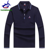 TACE&SHARK Mens Polo Shirt Brands 2018 Fashion Casual Slim Cotton Polos Embroidery Business Men Long Sleeve Polos Shirts Clothes