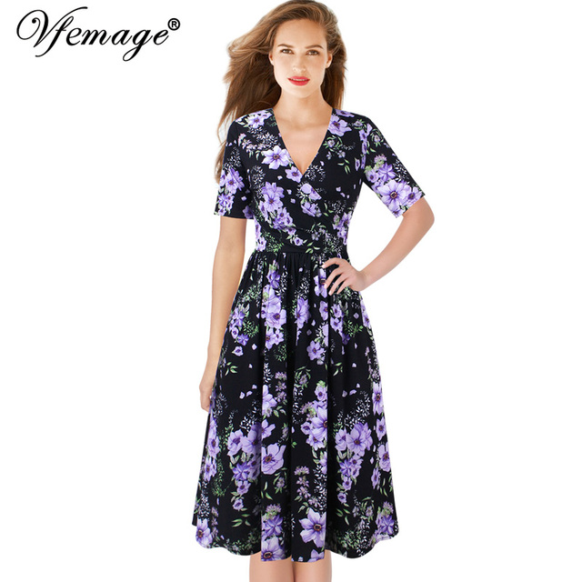0baa6d88e6ad Vfemage Womens V Neck Ruched Faux Wrap Floral Leopard Print Pleated Elastic  Waist Casual Party Flare Tea Skater A-Line Dress 561