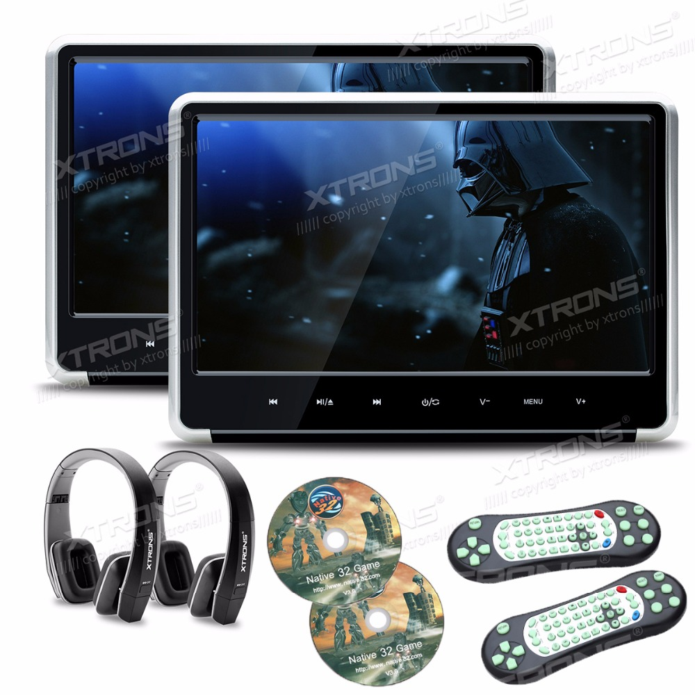 2pieces Silver Monitors 11.6″ HD Digital TFT Touch Panel 1080P Video Car Headrest DVD Player HDMI Port FM-TX USB GAME+Headphones