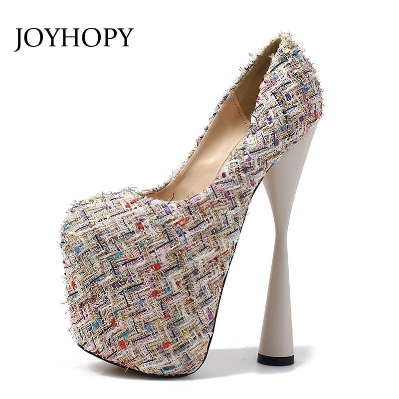 JOYHOPY Autumn Spring New Strange Style 20CM Super High Heel Platform Shoes  Knitting Yarn Women Pumps d90d4f79b83f
