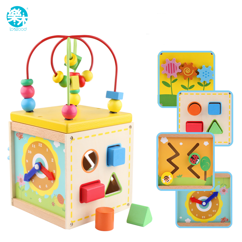 LOGO WOODBaby wooden toy for children Wood Classic Multi Shape Sorter Block for Kids Gift juguetes brinquedos Multifunction box