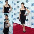 Free shipping kim kardashian red carpet show black knee length sheath formal celebrity dress 2013 new arrival CD016