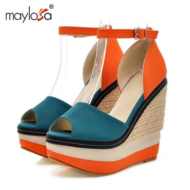 MAYLOSA  Open toe Weave Patch Color Wedges Gladiator Sandals Women High Heels Platform Sandals Summer Women's Shoes Woman ML56 phyanic 2017 gladiator sandals gold silver shoes woman summer platform wedges glitters creepers casual women shoes phy3323